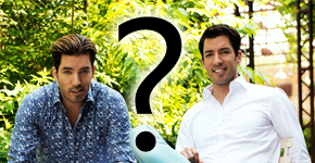 Johnathen and Drew Scott with a question mark